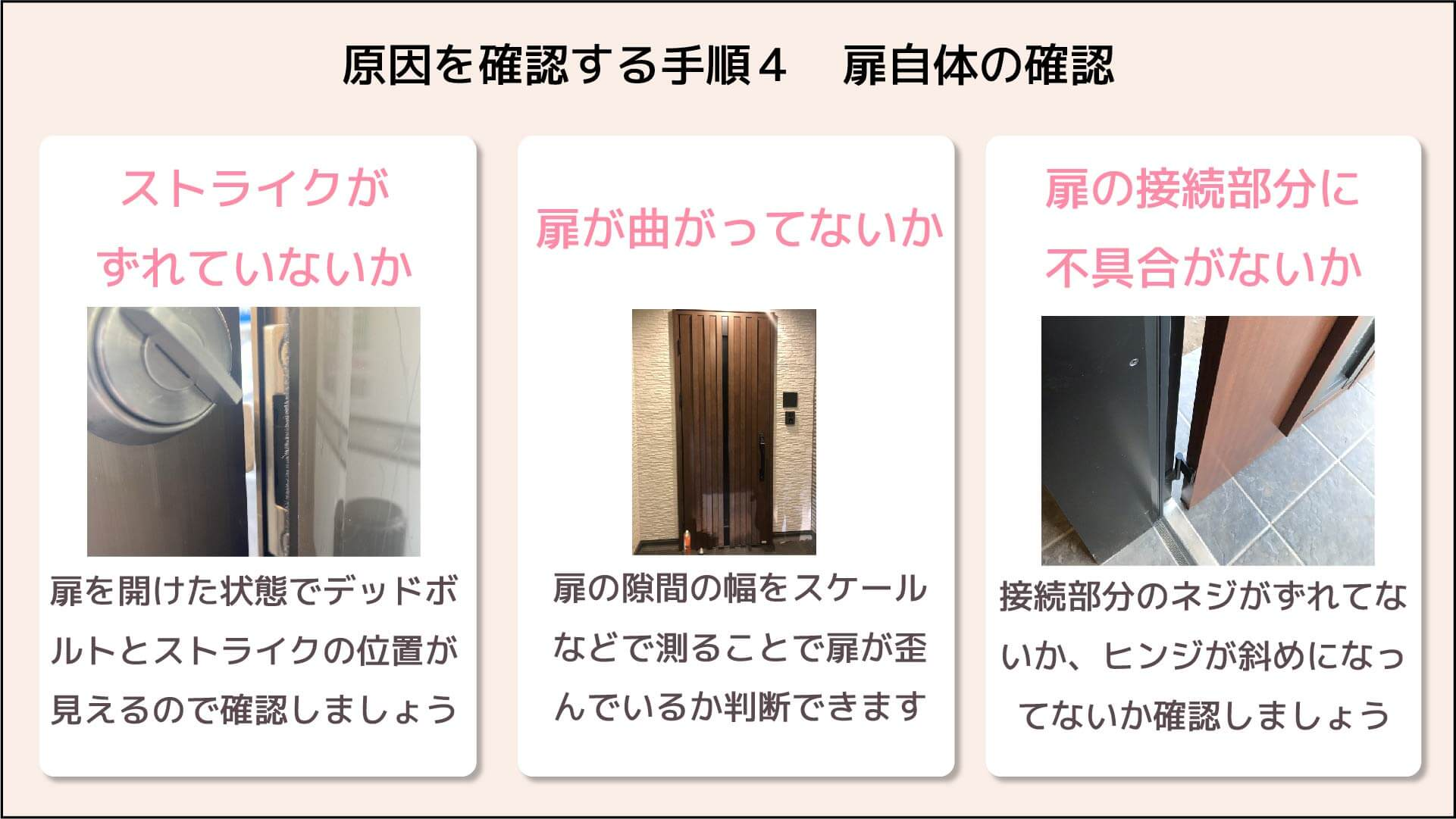 原因を確認する手順4扉自体の確認