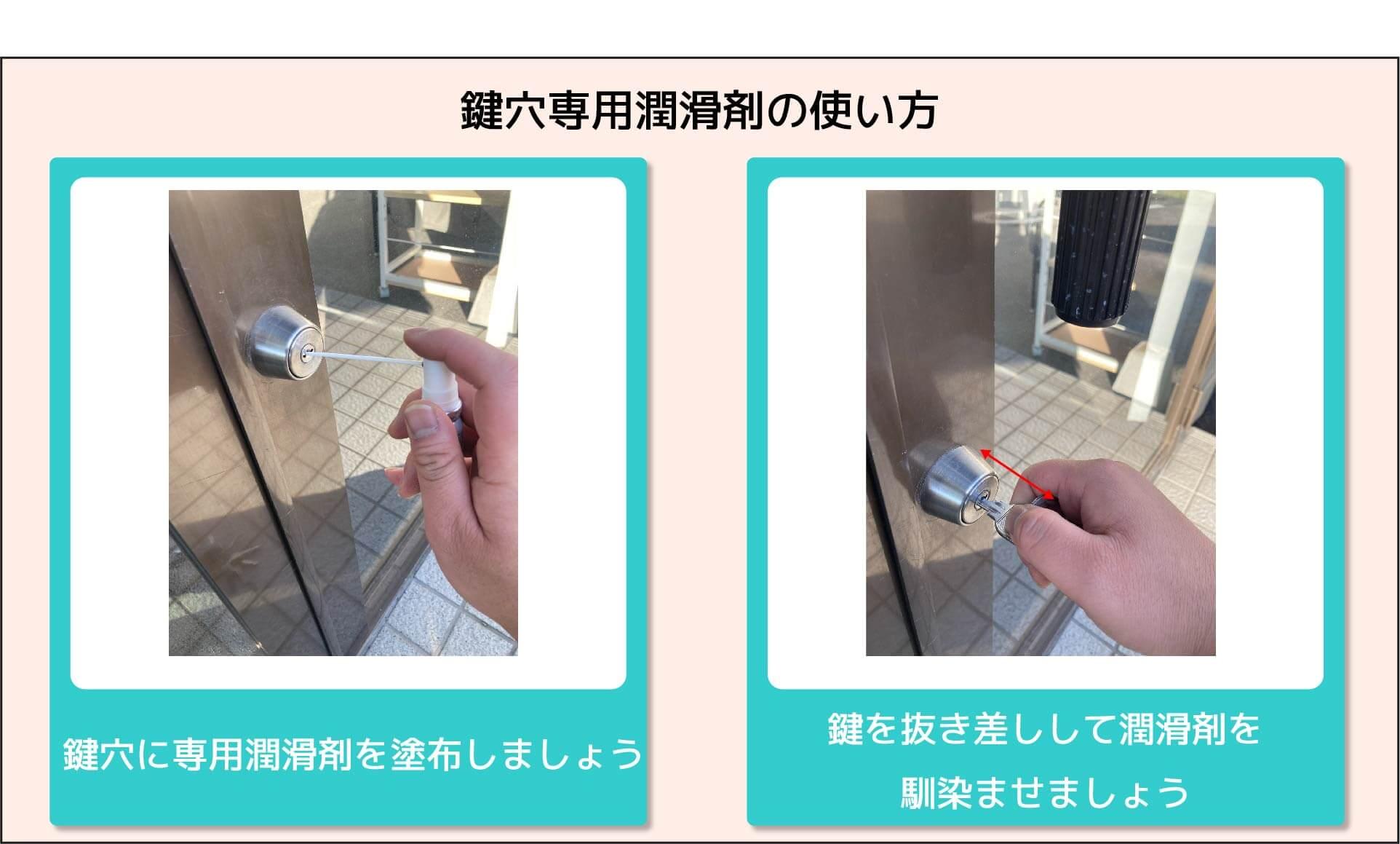 鍵穴専用潤滑剤の使い方